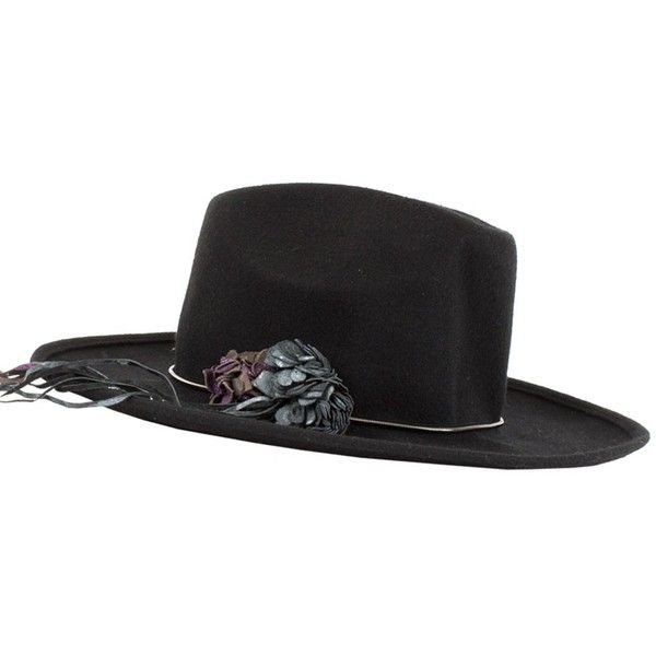 Black Tango Paris Hat (€339) ❤ liked on Polyvore featuring accessories, hats, flower hat and leather hat