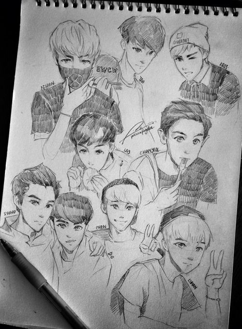 Exo Members Anime Style Not Mine Http