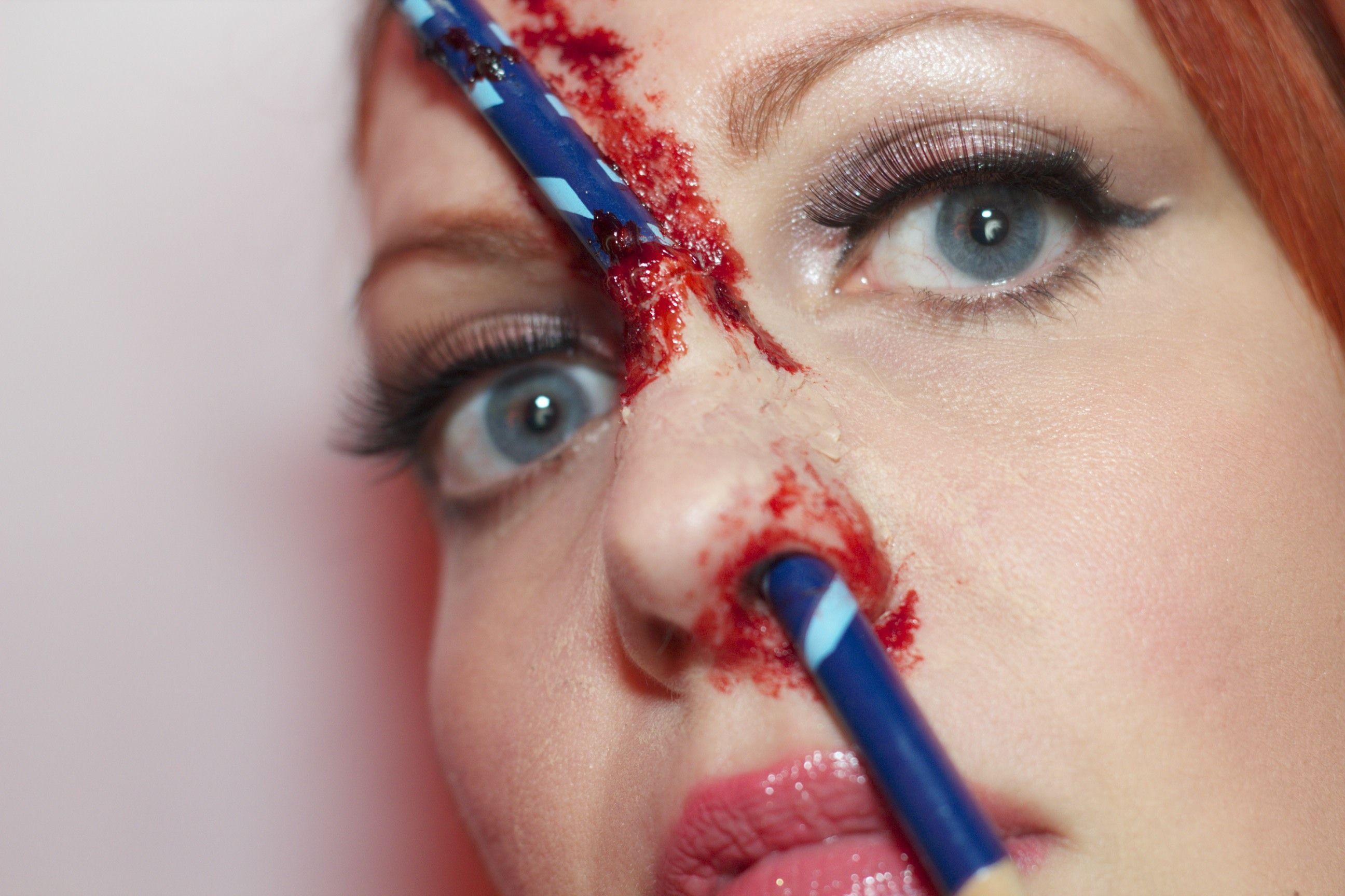 sfx spfx specialfx specialeffectsmakeup specialfxmakeup specialeffects makeup halloween halloweenmakeup bloody blood gore pencil schoolgirl i - Halloween Makeup Wax