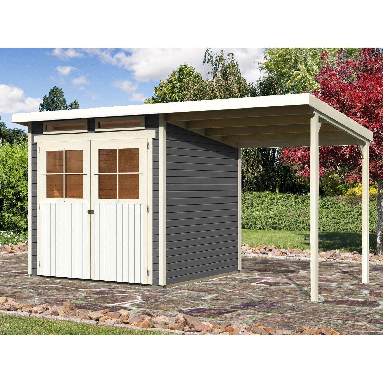 Karibu Holz Gartenhaus Genf 3 Terragrau Bxt 397 X 213 Cm Davon 188 Cm Anbaudach Gartenhaus Outdoor Dekorationen Und Haus
