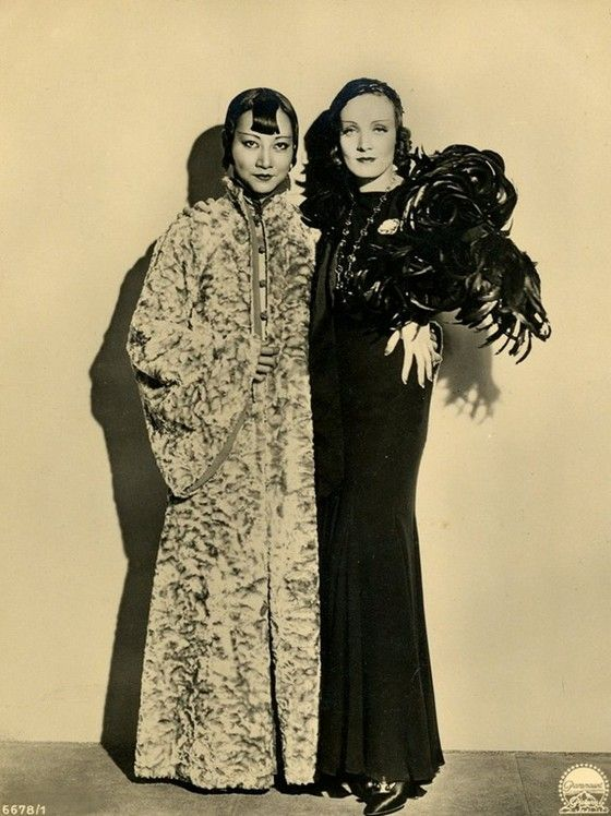 Anna May Wong and Marlene Dietrich on the set of Shanghai Express. YES.