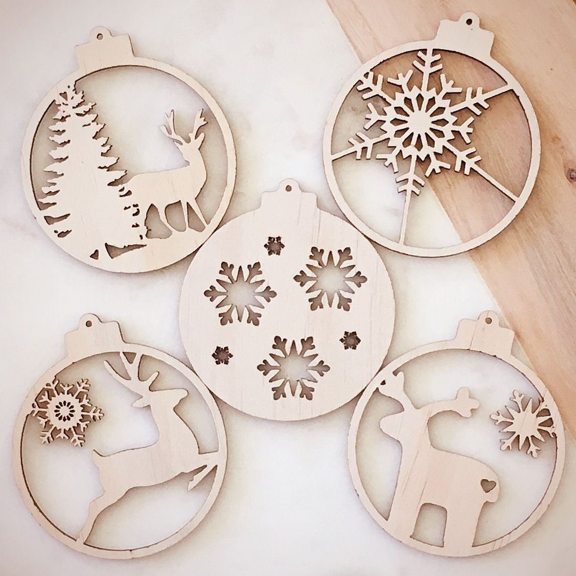 Set of various christmas ornaments bauble wood laser