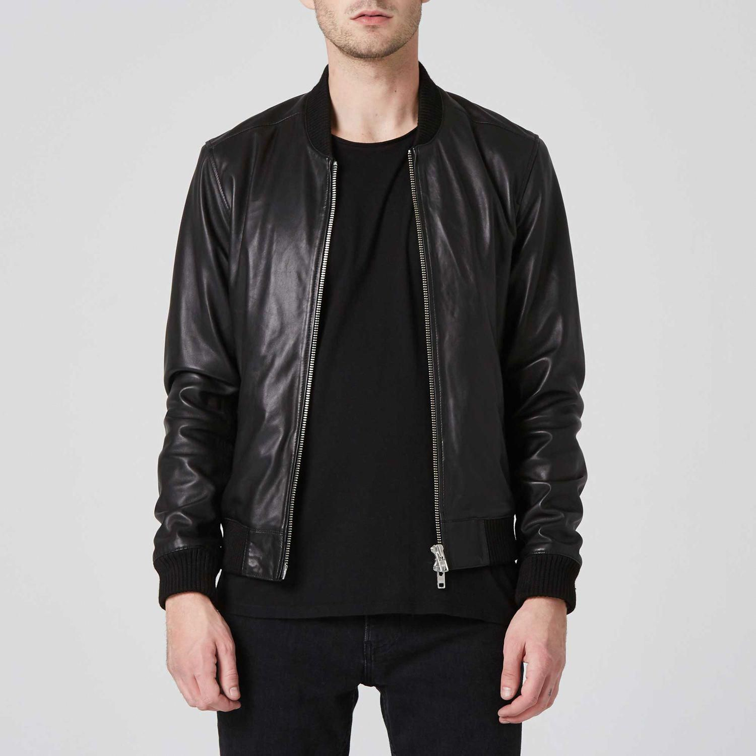 Leather Bomber Jacket in Black 1 Leather bomber jacket