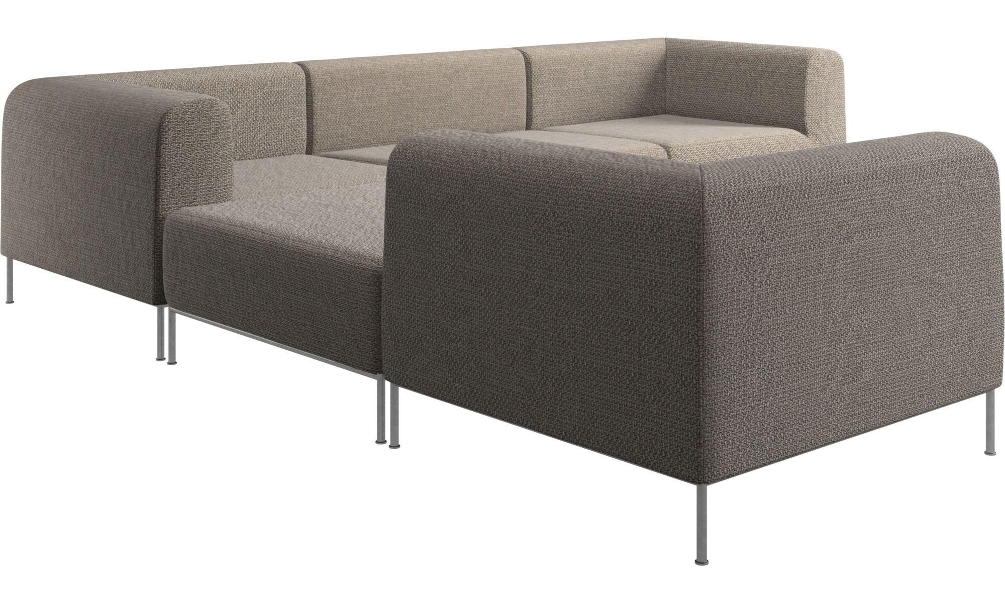 Modular Sofas Miami Corner Sofa With Footstool On Left Side Brown Fabric