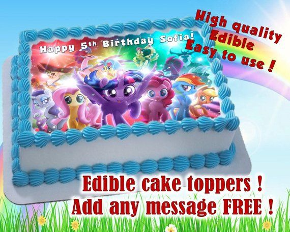 My Little Pony Cake Toppers Edible Print Sugar Sheet Decoration Birthday Party Supplies Personali