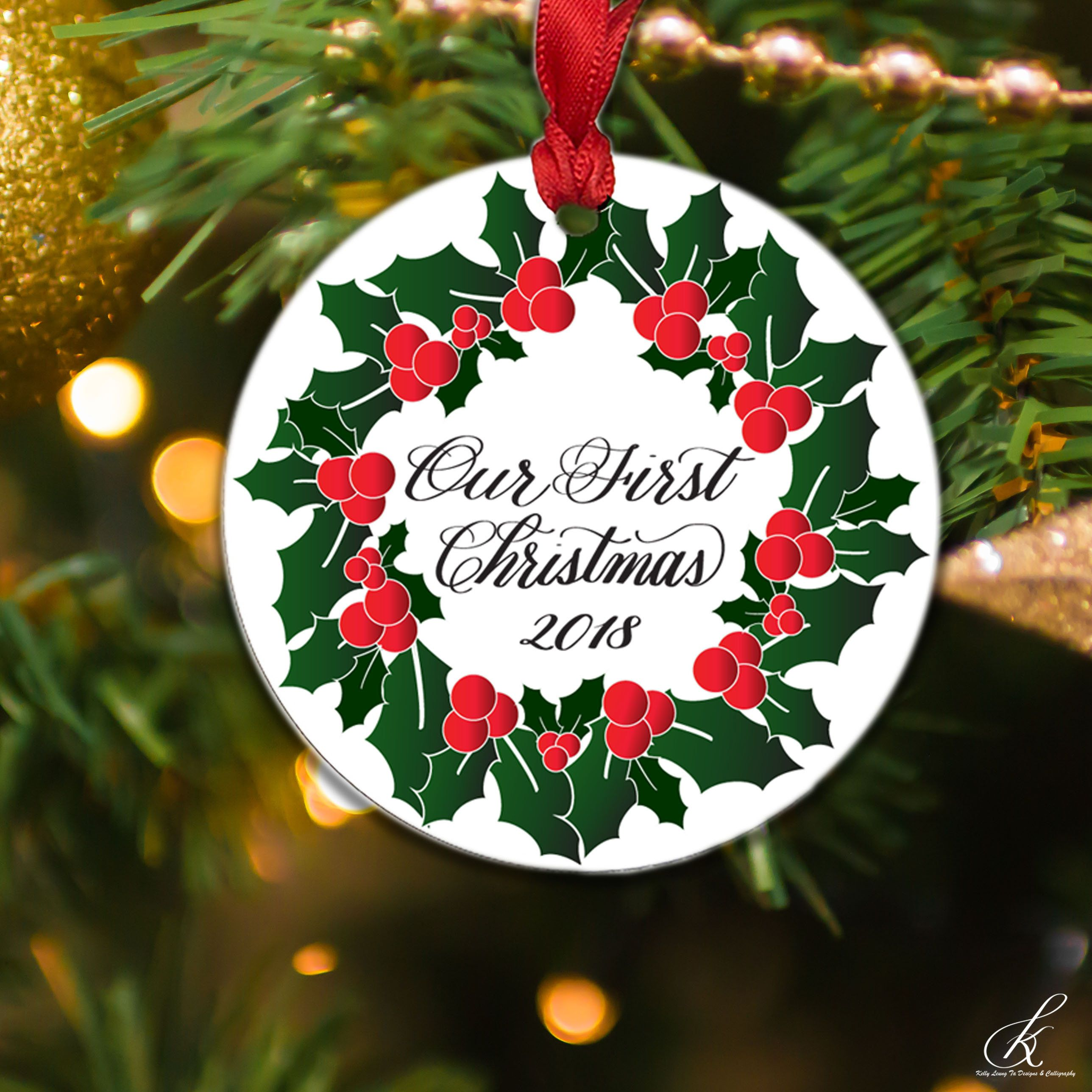 Our First Christmas 2018 Holly Wreath Holiday Round Keepsake ...