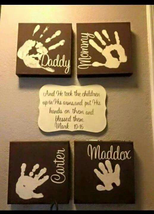 Family hand prints on canvas | Making a house my home♡ | Pinterest ...