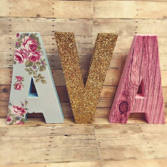 Shabby Chic Letters Fl Vintage Nursery Glitter Dipped Baby Block Bohemian Boho Decor