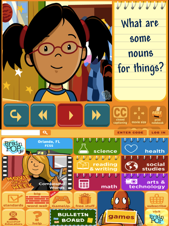 Brain pop Jr. has a lesson on Nouns that the kids really ...