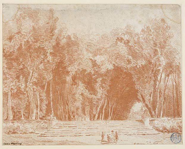 Les Allées du parc de Chanteloup, vers 1790, sanguine ...