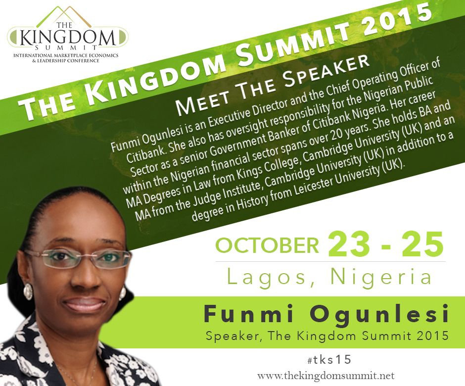 Meet The Speaker Funmi Ogunlesi is an Executive Director and the - first class degree