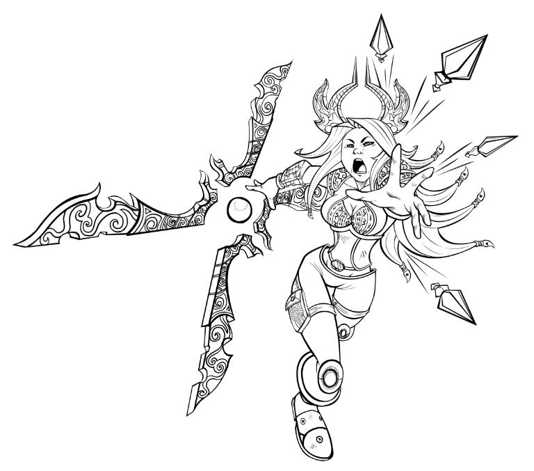 Irelia WIP LoL Contest Lineart by Xephondp | Lineart Hero: Sword ...
