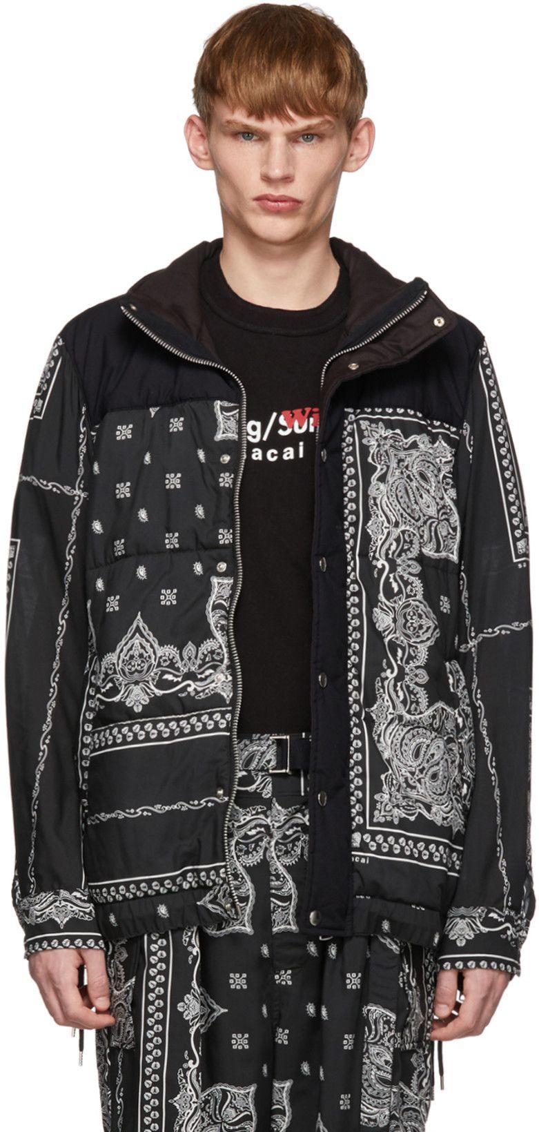 Sacai Black Bandana Print Jacket Print Jacket Bandana Print Clothes [ 1640 x 781 Pixel ]