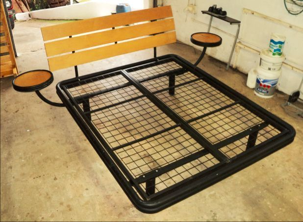 This Steel Frame Can Fit A Queen Size Mattress Mattress Notincluded It S In Good Condition And Includes Side Pede Queen Size Frame Wooden Sleigh Sleigh Beds