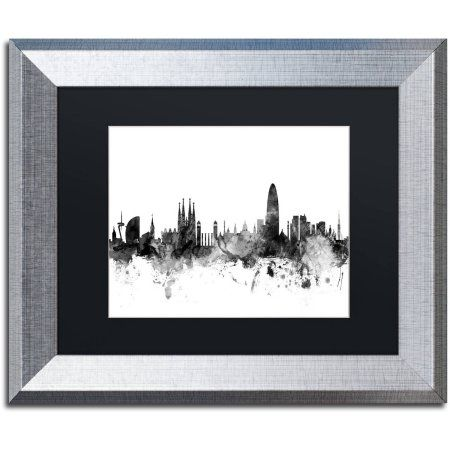 Trademark Fine Art 'Barcelona Spain Skyline B' Canvas Art by Michael Tompsett Black Matte, Silver Frame, Size: 16 x 20, Gray