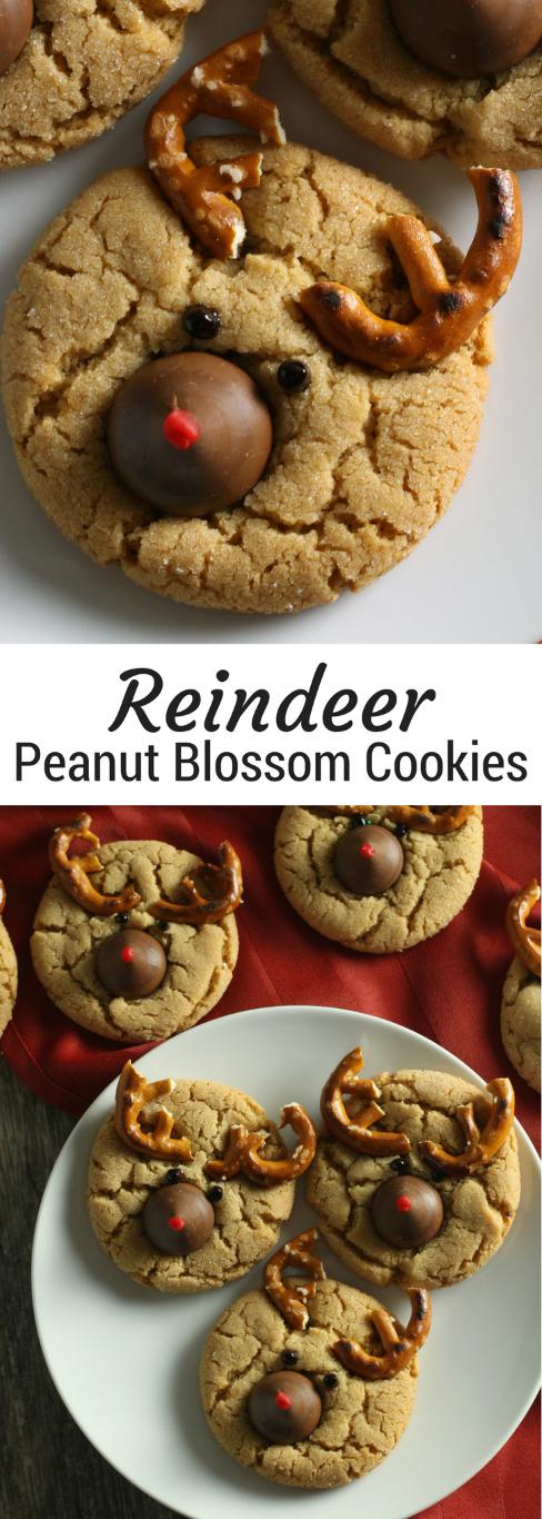 Reindeer Peanut Blossoms | Christmas peanut blossom cookies | Peanut Butter Kiss Cookies for Christmas | Christmas cookie trays and cookie swaps or exchanges #christmascookies #christmasrecipes