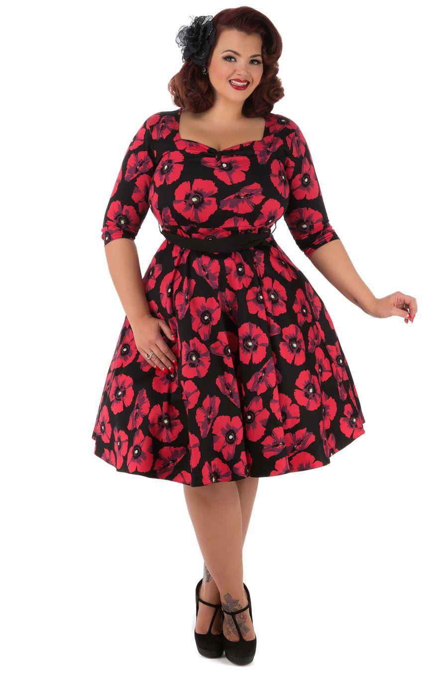 Šaty Lady V London Maria Red Poppy Šaty ve stylu 50. let. pro plnoštíhlé  dámy. Naprosto jedinečné šaty a24a7c0f47