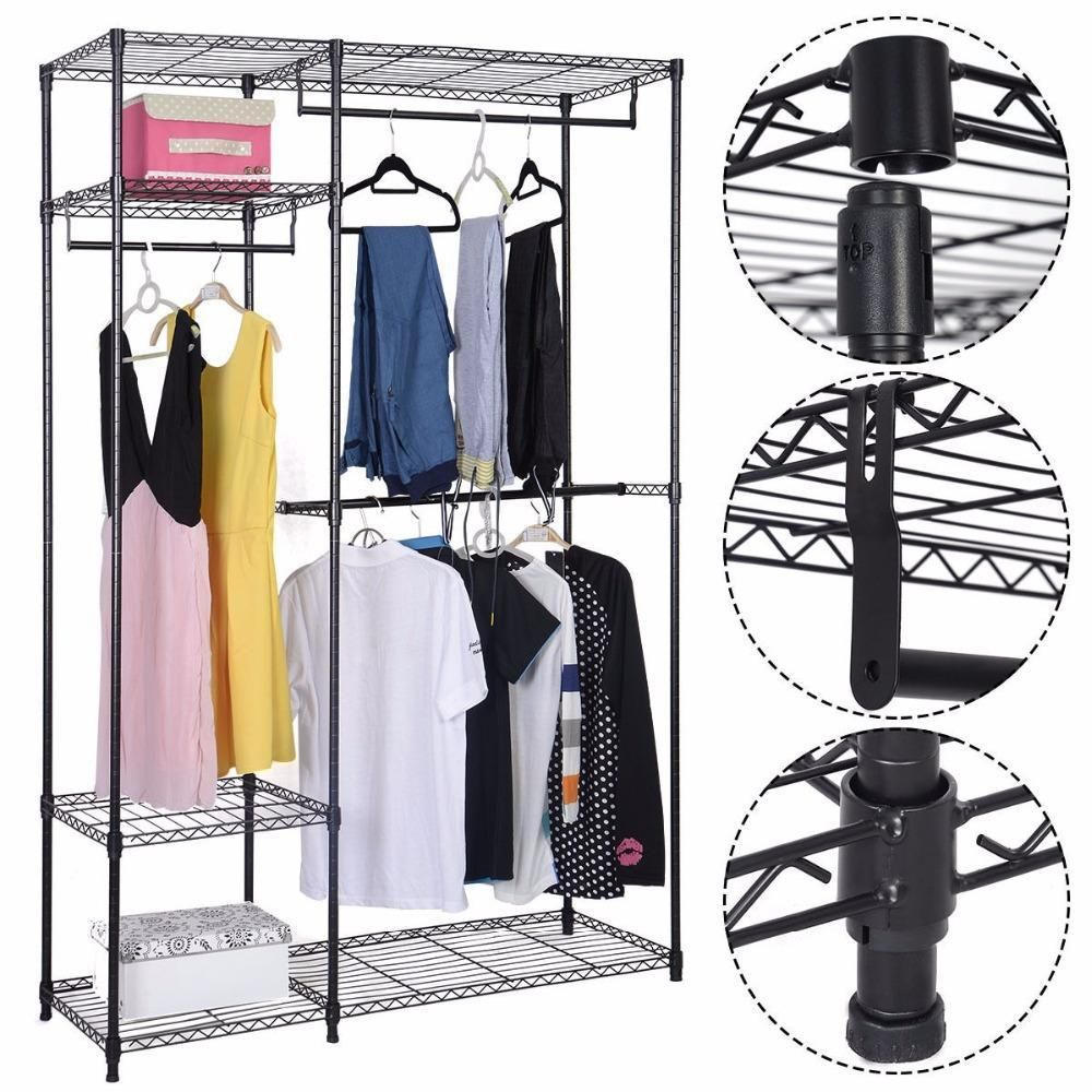 Buy 48x18x71 Closet Organizer Adjustable Metal Wardrobe Garment Rack