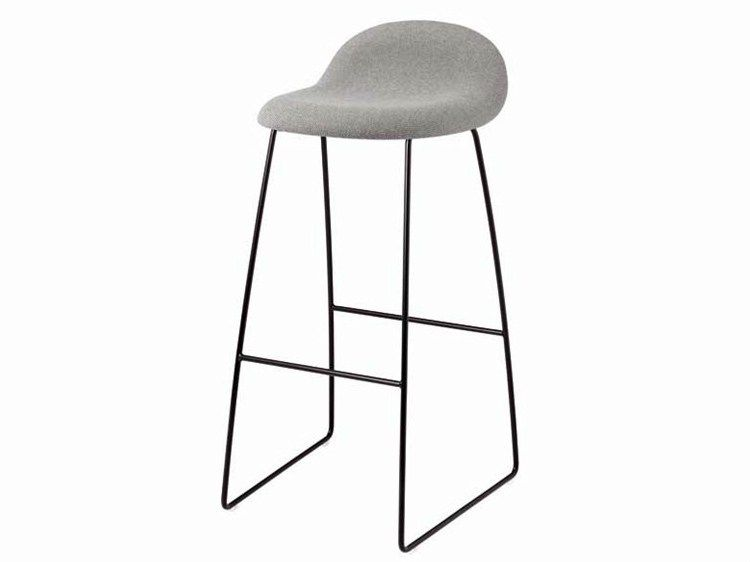 Upholstered sled base fabric stool with footrest GUBI 32 Gubi Chair ...