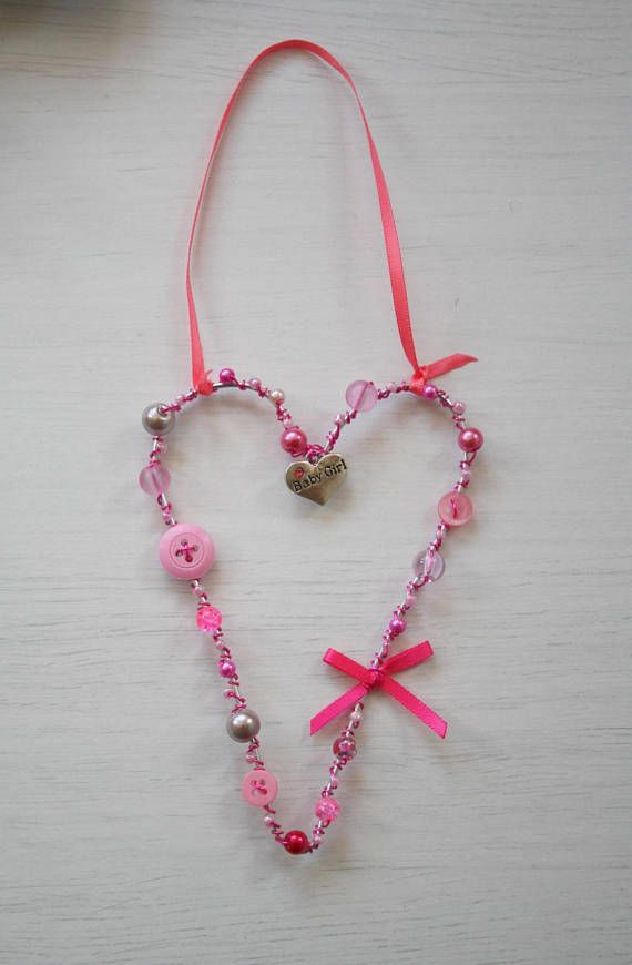 Hanging Heart Decoration For Your Home Baby Girl Nursery Decoration Gift Shabby Chic Pink Heart Decorations Baby Girl Nursery Decor Hanging Hearts