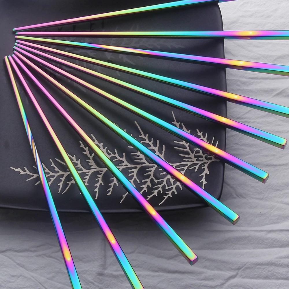 Rainbow Colorful Food Grade Metal Stainless Steel Tableware Chopsticks Square US
