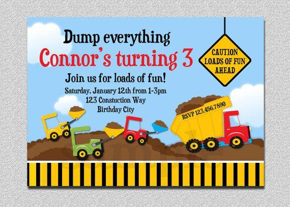 Construction Themed Birthday Party Invitations | My Birthday ...