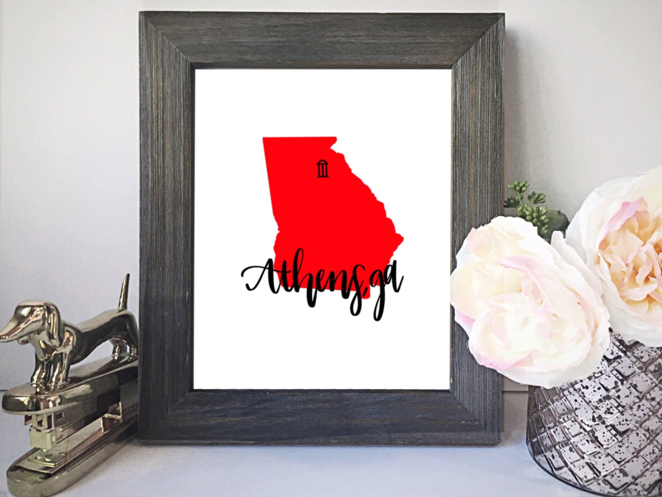 Excited To Share The Latest Addition To My Etsy Shop Athens Ga Digital Print Uga Art Uga Digital Print Simple Wall Decor Hand Lettered Print Frame Decor