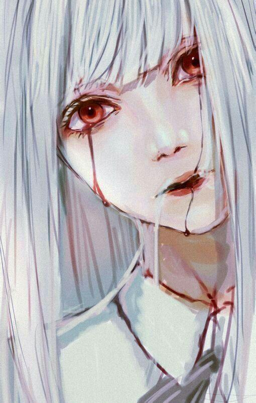 Anime Girl With White Eyes