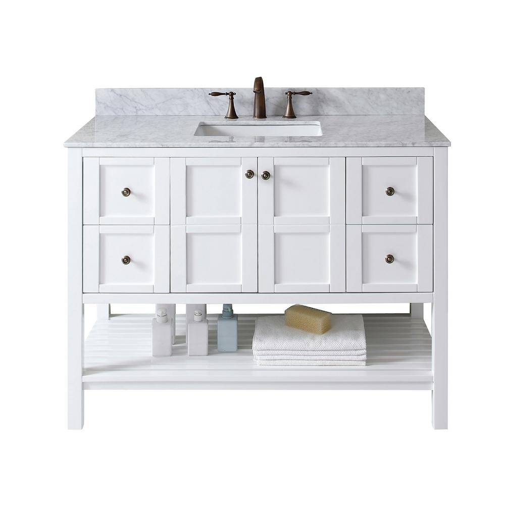 092f7f9aea0 Virtu USA Winterfell 48 in. W x 22 in. D Single Vanity in White with Marble  Vanity Top in Carrara White with White Basin-ES-30048-WMSQ-WH-NM - The Home  ...