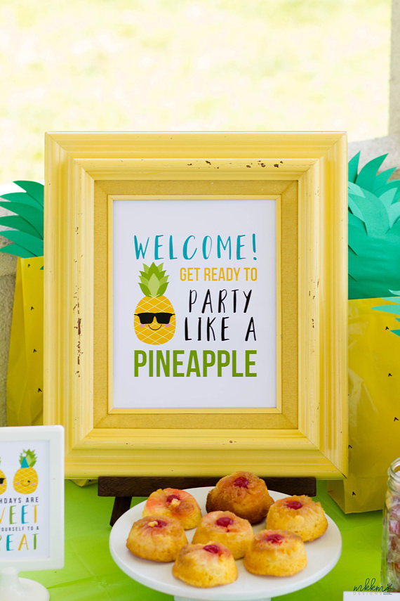 Pineapple Welcome Sign Pineapple Party Summer Party