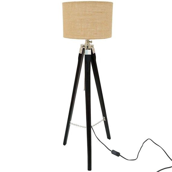 Wooden Tripod Floor Lamp Stand Without Shade and Bulb Black Wood And Chrome