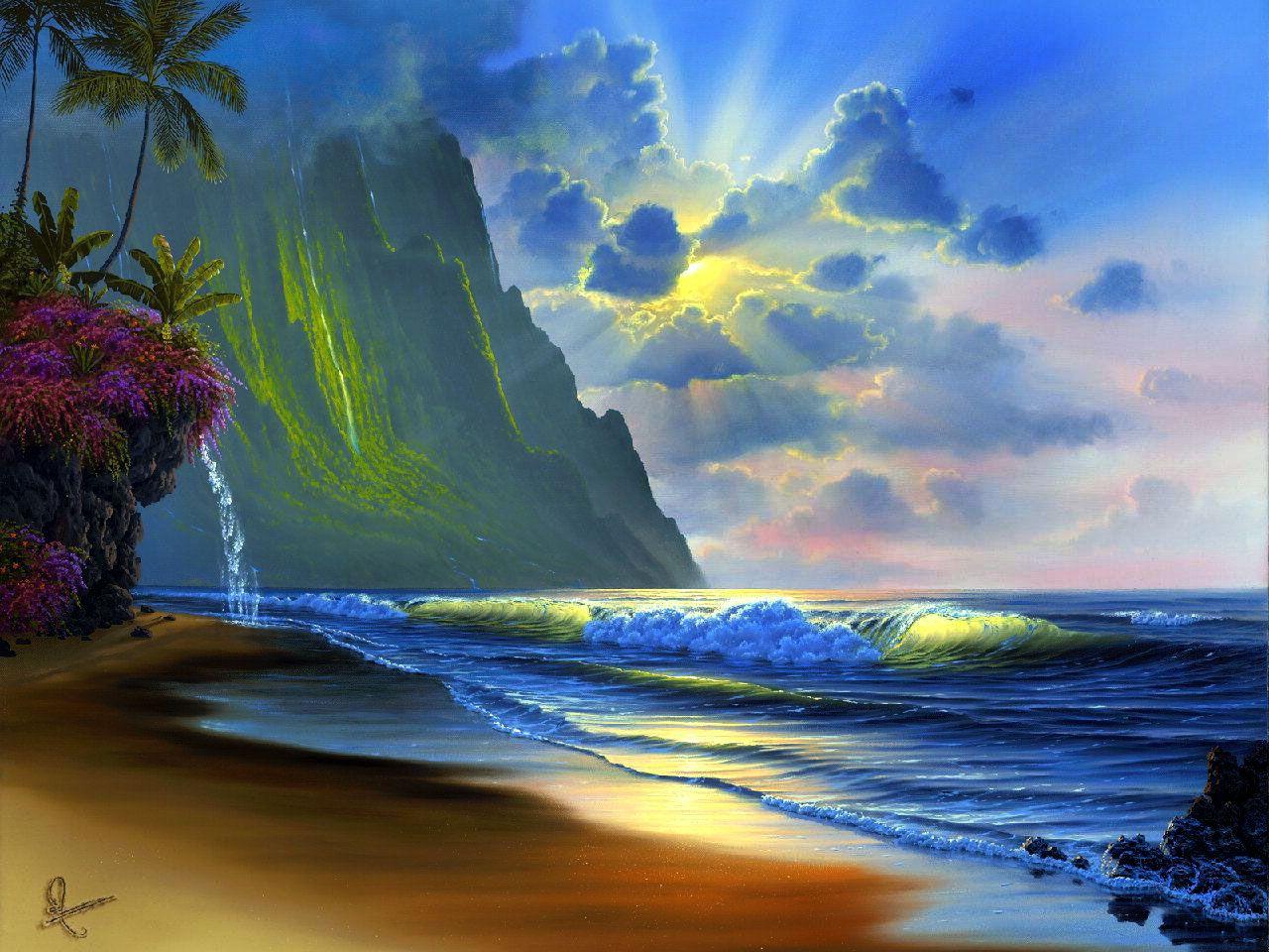 Pin By Kathleen Mccadden On Waterfalls Waterfalls Waterfalls Surf Art Ocean Art Beach Art