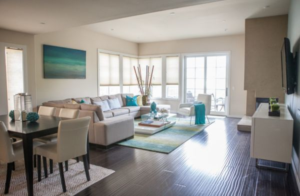 glamorous turquoise beige living room | White coupled with turquoise gives the bachelor pad a ...