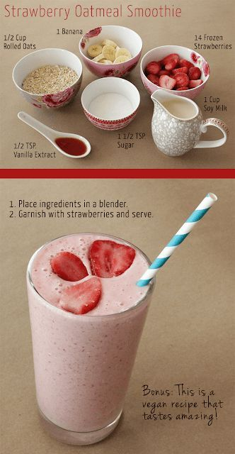 STRAWBERRY OATMEAL BREAKFAST SMOOTHIE -   12 diet Smoothie breakfast ideas