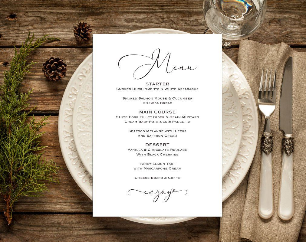 Wedding Menu Template 5x7 4x6 And Full Page Menu Etsy Wedding Menu Template Printable Menu Cards Wedding Menu