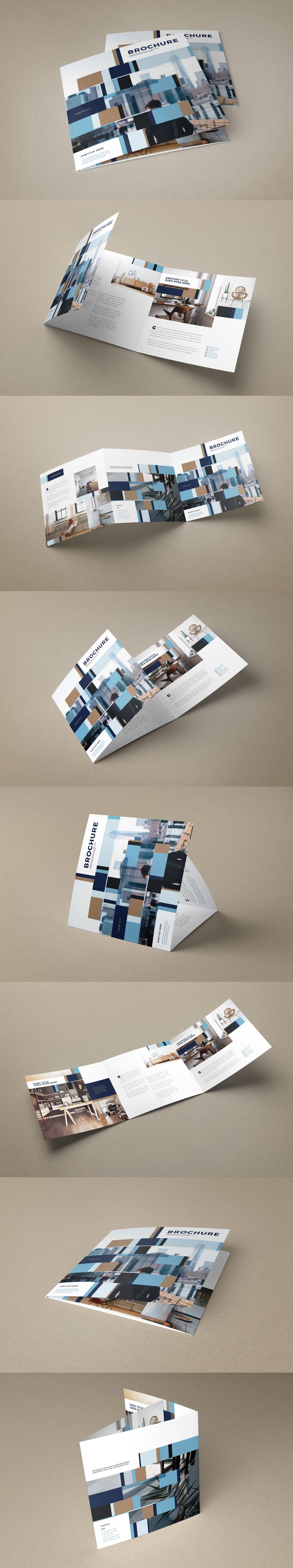 Square Modern Interior Design Trifold Brochure Template INDD