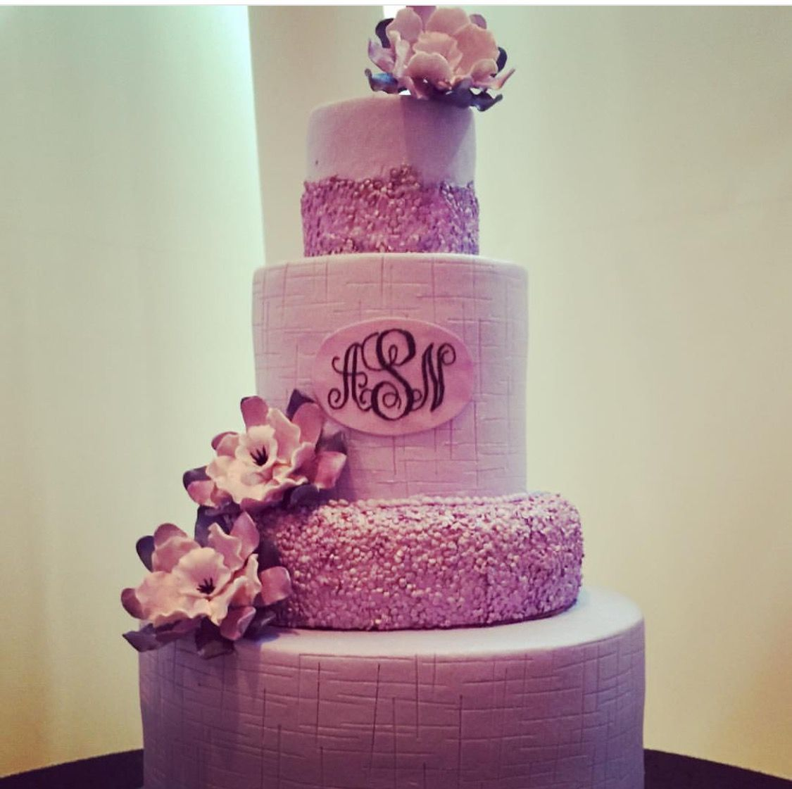 Purple wedding cake with monogram design. Wedding by Southern Event ...