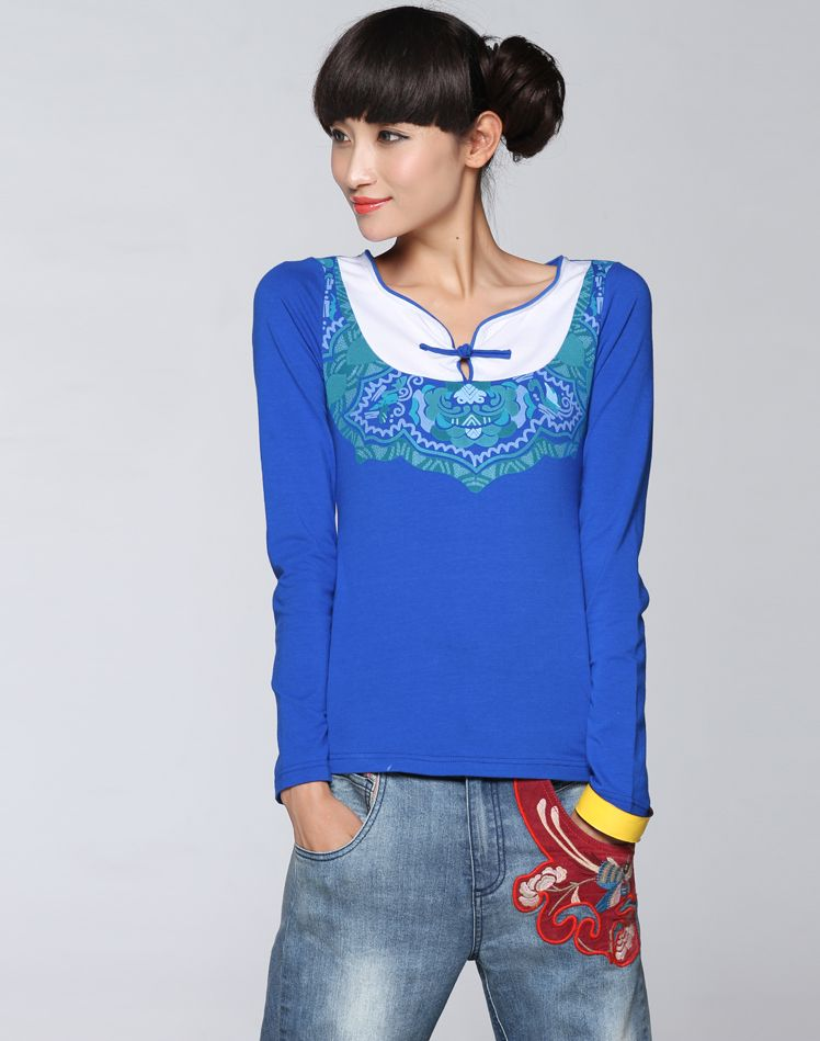 Liebo New Autumn Printing Block Slim Cut Knitted Long Sleeved T Shirt