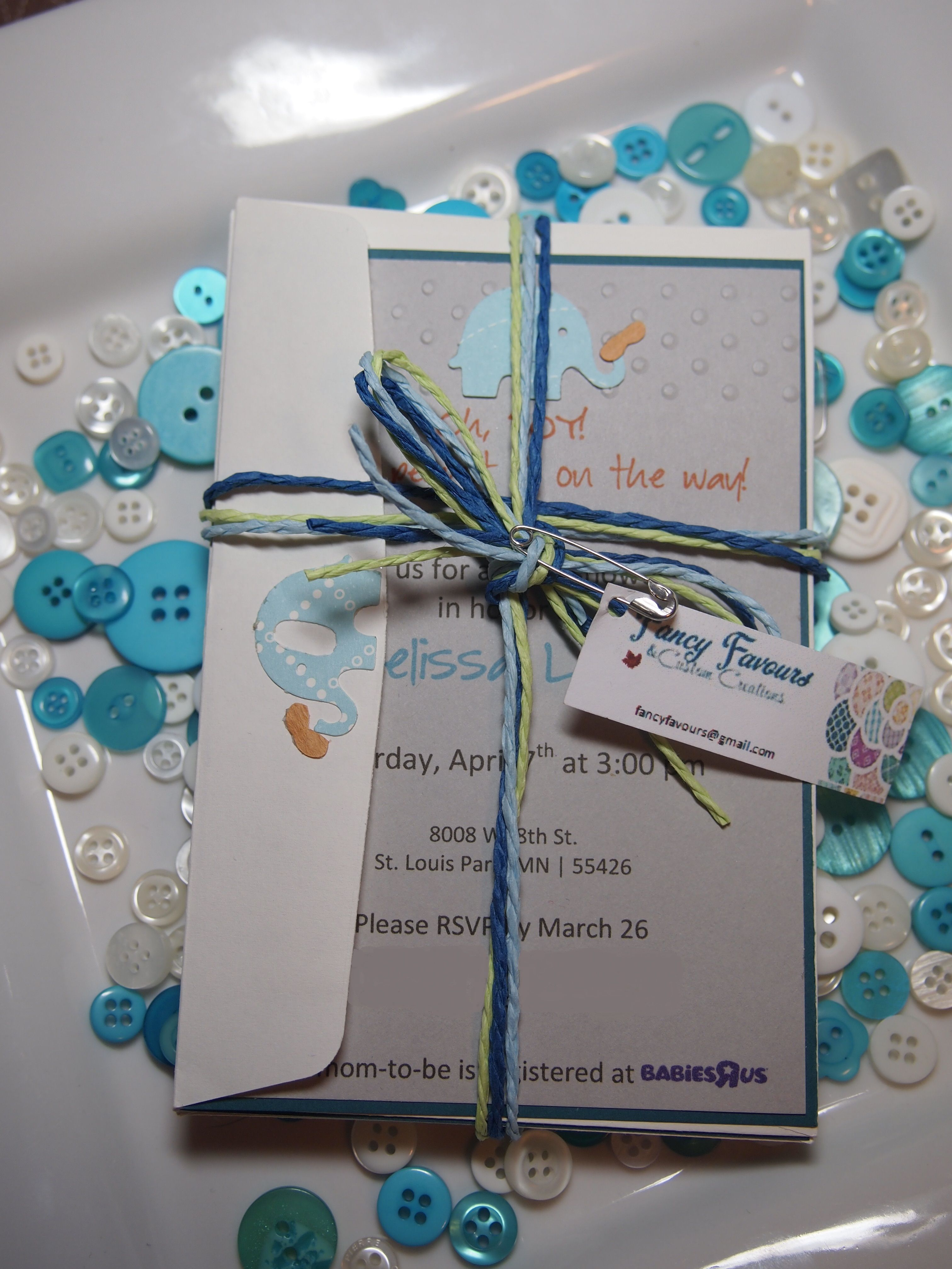 An Example Of A Baby Shower Invitation Set Created By