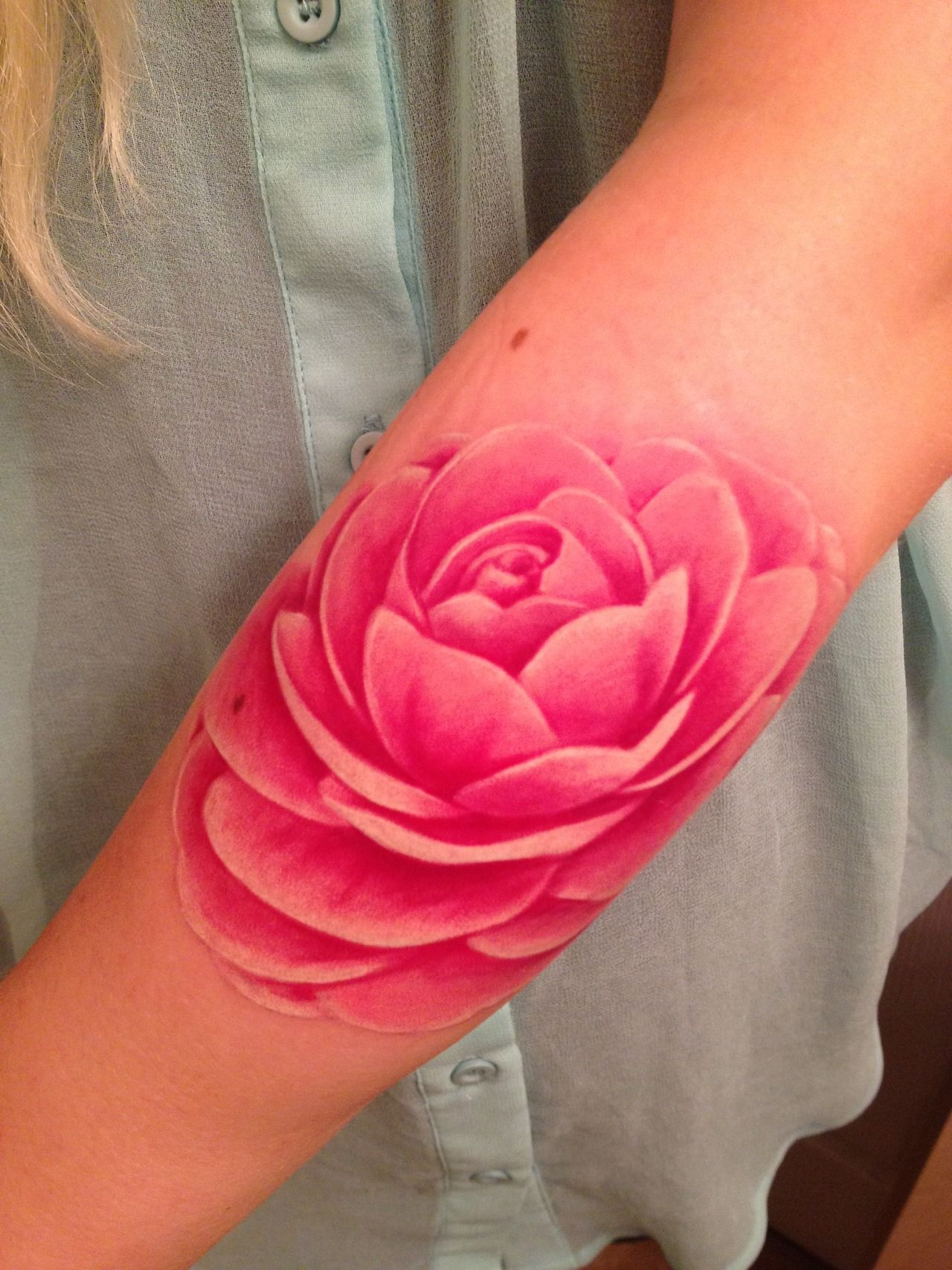 Pink flower tattoo with no outline | Tattoos | Pinterest | Pink ...