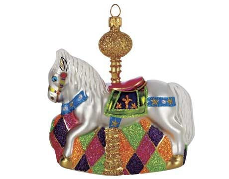 """CAROUSEL HORSE, 4""""H, GLASS, $49; ABIGAIL'S COLLECTION THROUGH: 866-395-1801;"""