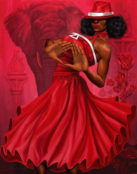 Red and White Divine Diva by Dion Pollard (20x23.6