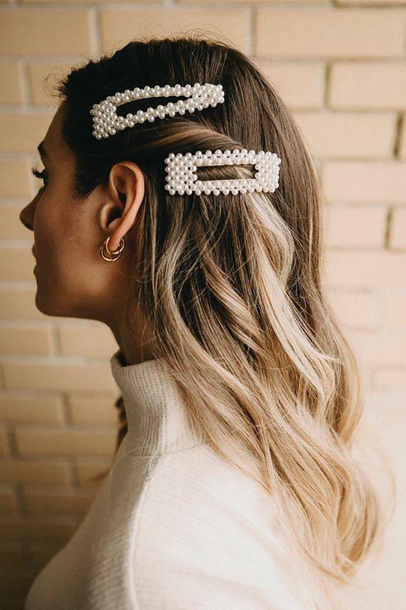 Pearl Hair Clipspearl Barrette Hair Clipsbeaded Gold Color Etsy Clip Hairstyles Hair Clips Headband Hairstyles