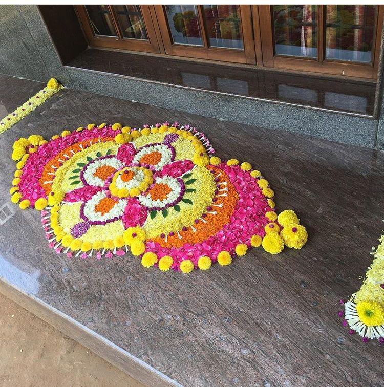 Pin By Aruna Kotturi On Flower Rangoli Flower Decorations Flower Petal Art Easy Wedding Planning