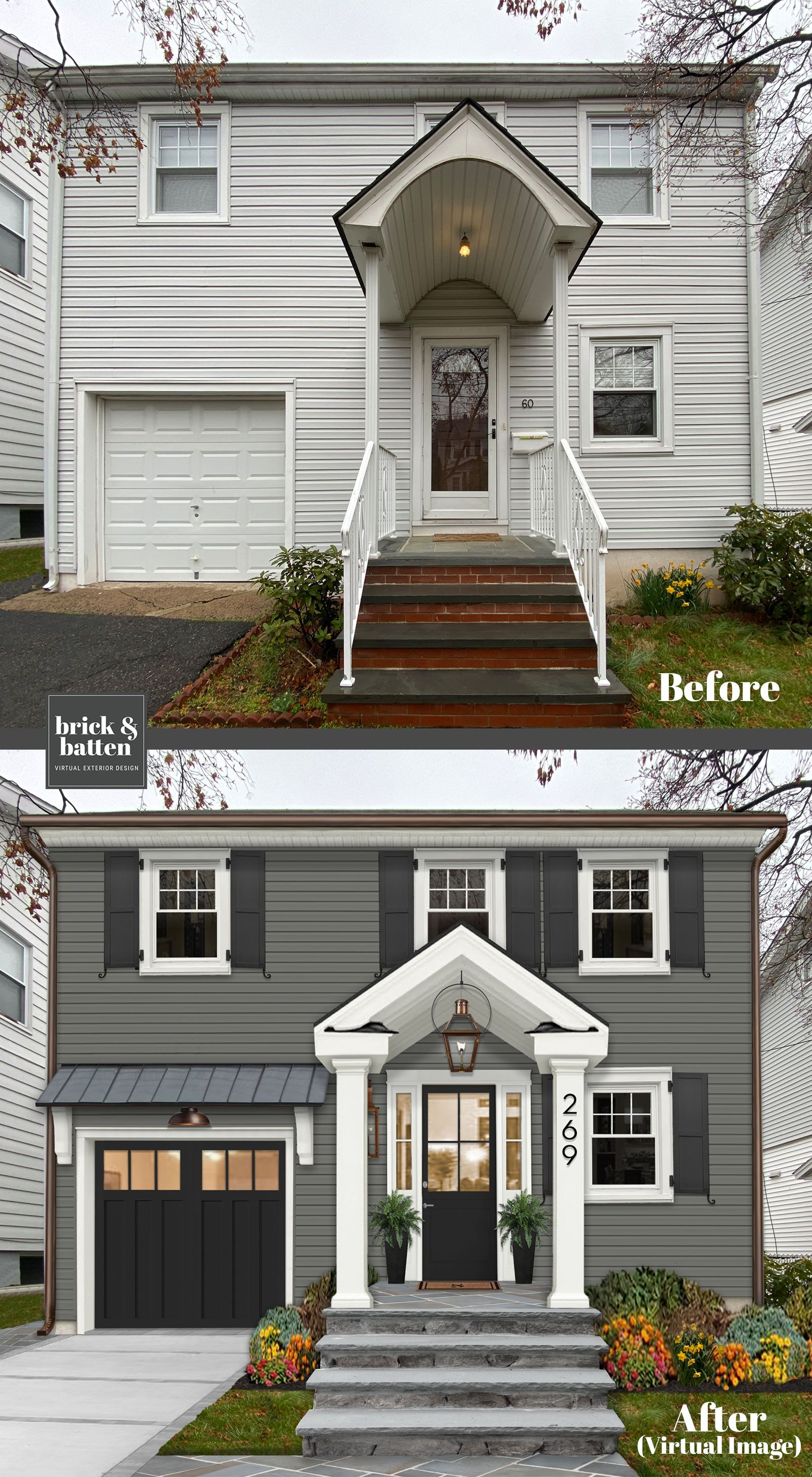 The New Color Palette And Traditional Updated Elements Really Updates This 1940 S Side Hall Colonia In 2020 House Makeovers Home Exterior Makeover House Paint Exterior