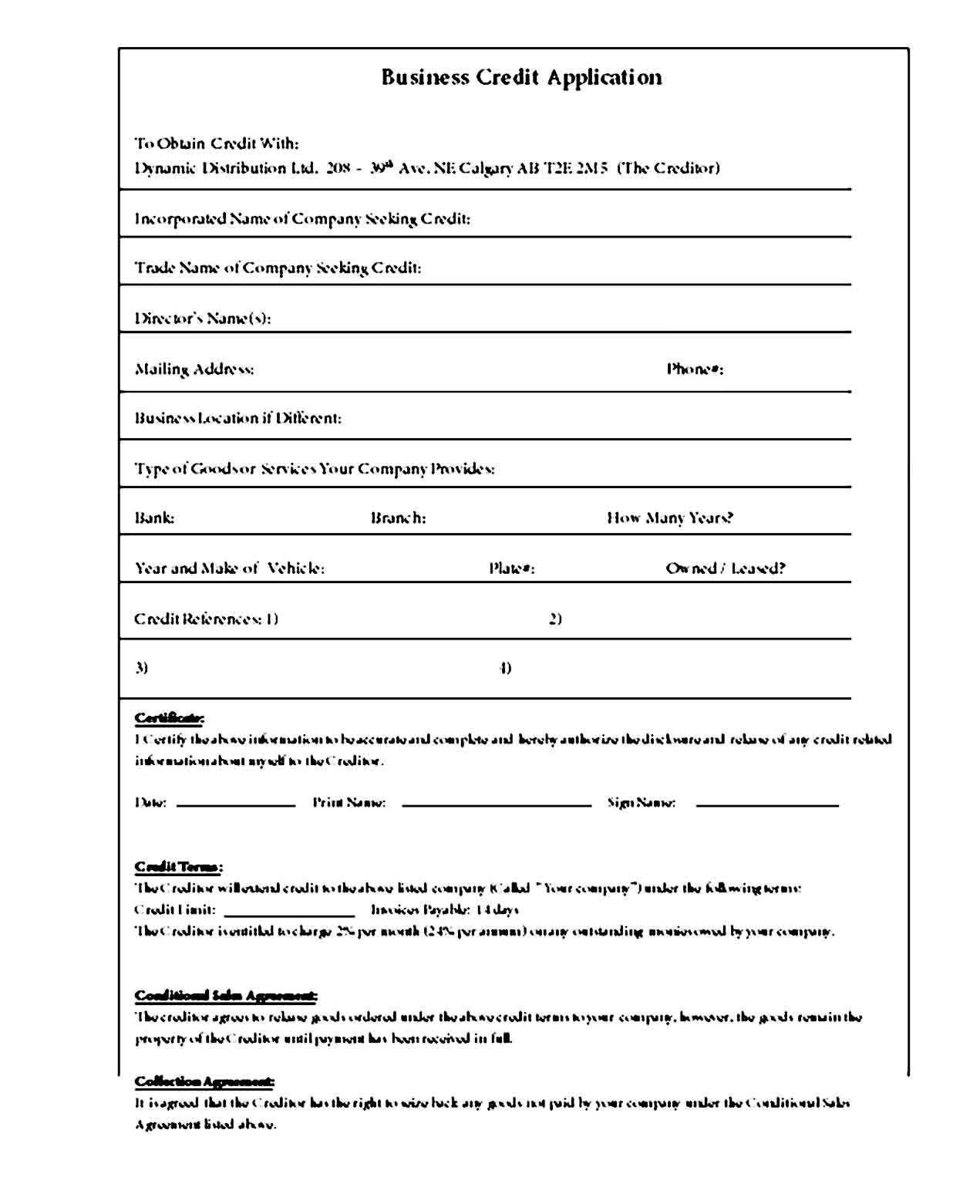 Sample Credit Application Template Credit Applications Application Letter Template Business Template Sample of credit application form