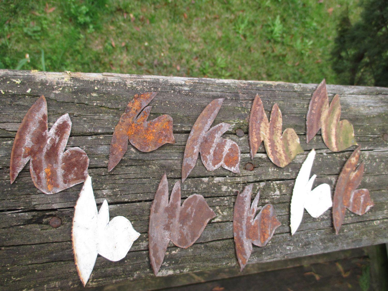 Rusty tin craft supplies - 10 Rusty Tin Small Folk Art Style Birds Hand Cut Tin Can Lids Natural Rust Patina Country Primitive Rustic Craft Supply Salvage Weathered
