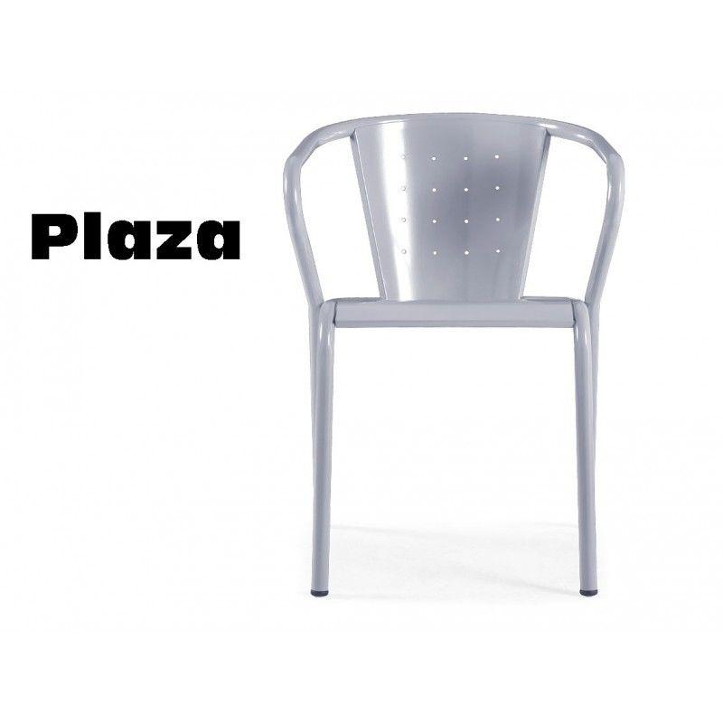 PLAZA chaise en acier de jardin, peinture polyester finition argent