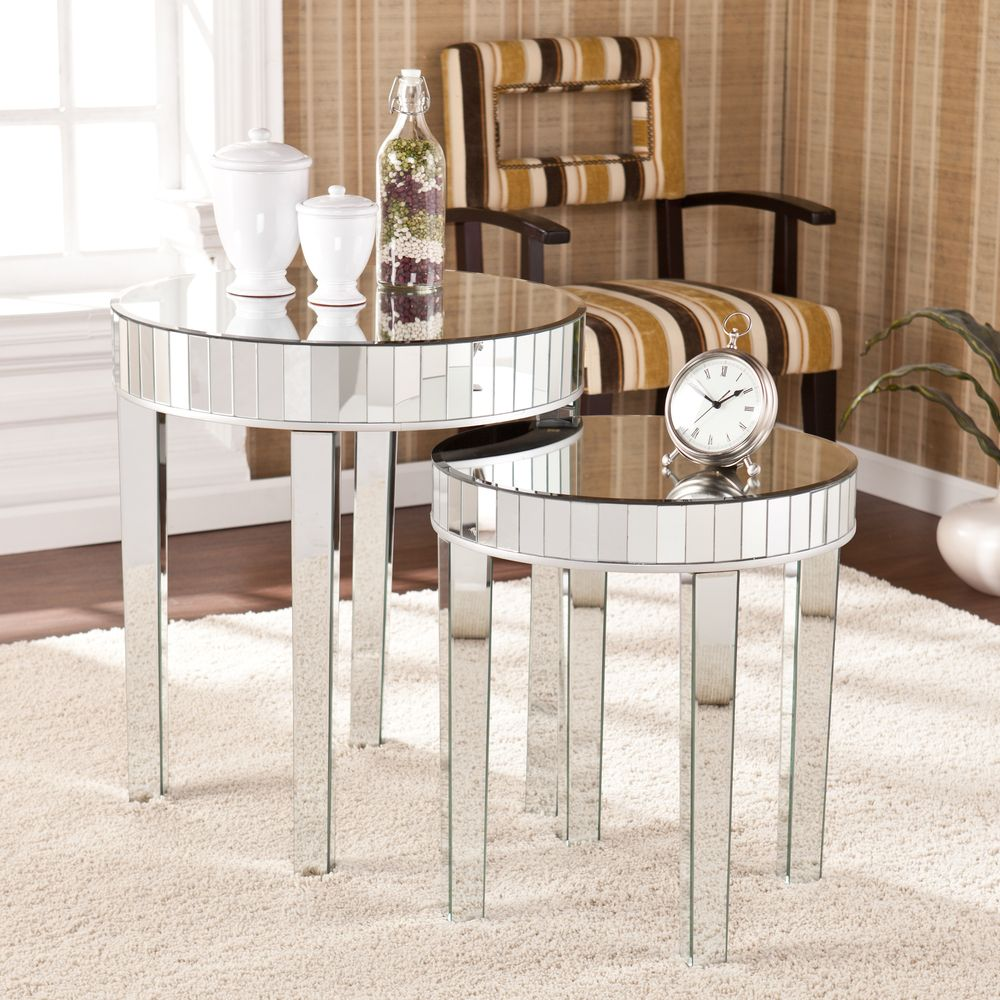 Best Upton Home Tifton Round Mirrored Nesting Accent Table 2Pc 400 x 300