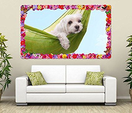 3d Wandtattoo Hund Faul Lustig Hangematte Sommer Blumen Rahmen Wandbild Tattoo Wohnzimmer Wand Aufkleber 11l1001 Wandbild Grosse F Ca 140cmx